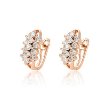 97123 boucles d'oreilles créoles pour dames pavées de zircon synthétique de la mode de luxe xuping rose doré