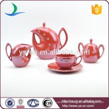 Acryl diamond red ceramic tea set