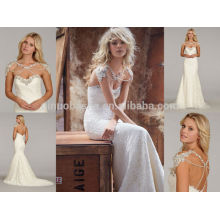 Atemberaubende Spitze-Meerjungfrau-Hochzeits-Kleid 2014 Kristallausschnitt-Kappen-Hülse Backless langes berühmtes Designer-Brautkleid NB0669