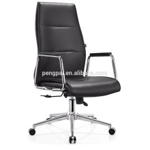 Foshan Office chair with pu leather/chrome armrest with wooden cover
