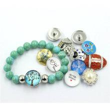 2016 baratos atacado snap botão design azul crack beads pulseira
