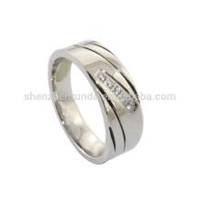 Großhandelsmänner Edelstahl-Hochzeits-Ring-Schmucksachen mit Kristallring-Zusätzen