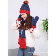 2017 invierno cálido lana tejida a mano sombrero bufandas guantes conjunto