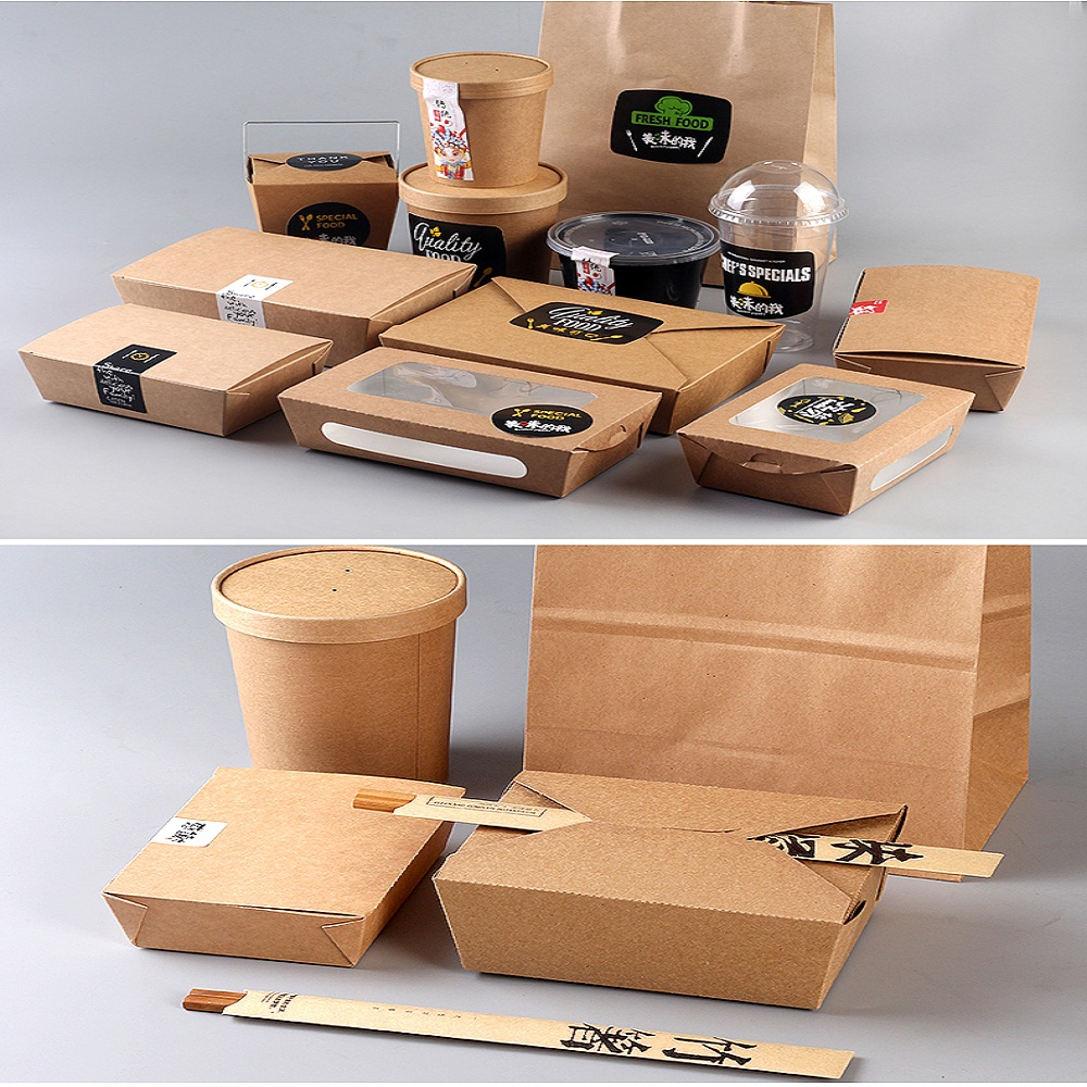 printed kraft paper fast food packaging box
