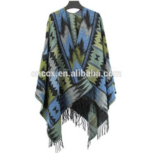 15PKCP03 2017 New Lady's woven trendy aztec print travel cape blanket