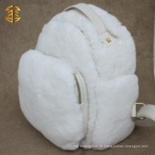 Novo saco de pele de coelho real branco de design com mochila de pele de couro genuíno