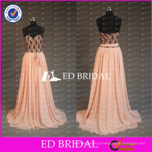 2017 ED Bridal Real Sample Sweetheart Sheer Black Lace Bodice Peach Chiffon Skirt Long Prom Dresses