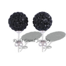 Fashion Handmade Crystal Clay Bead Shamballa Stud Earrings