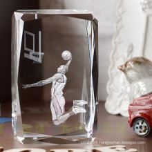 NBA 3D Crystal Glass Laser Cube for Basketball