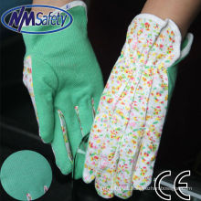 NMSAFETY cotton interlock knit fabric glove, three seams on back with mini PVC dots