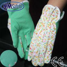 NMSAFETY algodão interlock malha luva de tecido, três costuras de volta com mini pontos de PVC