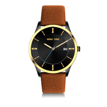 stainless steel 3atm brown leather case quartz watch