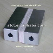imán de neodimio Super cubo con avellanado, bloque magnético, imán super fuerte