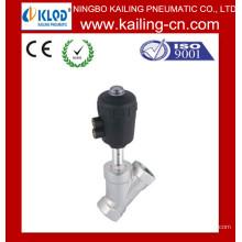 Válvula de assento angular / Válvula de assento de ângulo de pistão de 2 vias para água, ar, gás / rosca e flange