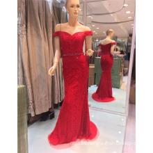 2017 fuera de hombro sexy de piedra roja rebordeada Bling bordado sirena vestidos de noche