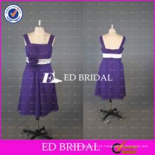 ED Bridal China Custom Made A Line Tamanho do joelho Vestido de dama de honra Chiffon roxo com faixa branca 2017