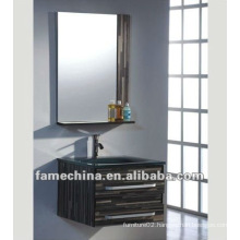 Wall mounted Plywood bathroom cabinet Black glass basin sanitary ware