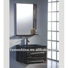 Armário de banheiro de madeira compensada de parede Lavatório de vidro preto sanitário