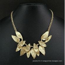 Punk multi-couches feuilles bijoux collier chaîne en or