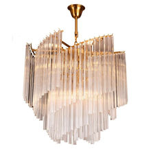 Simple Style Crystal triangle Glass Lighting Decor Electroplated bronze Chandelier