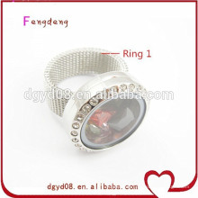 Stainless Steel Floating Charms Locket Rings with Crystals Wholesale locket rings