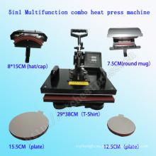 5 en 1 camiseta de la máquina de la prensa del calor 5 en 1new condición Automatic Type5in1 Combo colorante de la impresora de la sublimación prenda prensa de la máquina Máquina de la prensa del calor multifuncional