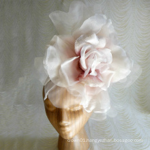 NEW Extra Large Deluxe Silk andt Velvet Rose Pale Blush Pink Ivory Millinery Flower for Hats Gowns Home Dec Fascinators