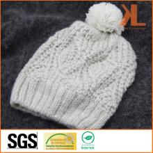 100% акриловая трикотажная шляпа с помпоном и блестками