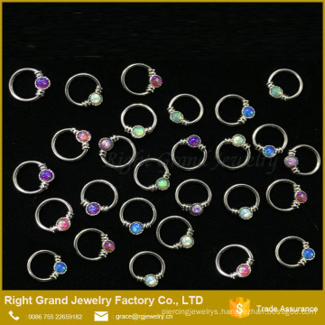 China Suppler Nose Piercing 316L Surgical Steel Opal Unique Nose Rings