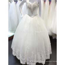 Designer Lace Wedding Ball Gown Sweetheart Neckline Últimos vestidos de moda Heavy Beading Bow Back Vestidos de noiva A102