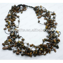 8Wire Knotted Tigereye Chip Necklace