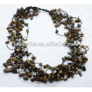 8Wire geknotet Tigereye Chip Halskette