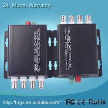 Surveillance des systèmes de sécurité Vidéo / Voix multiplexeur 4 canaux numérique optique Support de convertisseur de fibre optique 1080p caméra IP