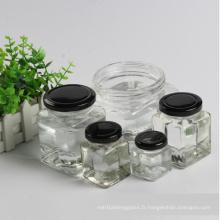 Pot de pot carré carré ou bouteilles avec fermeture en métal
