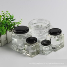 Квадратная медовая стеклянная банка или бутылки с металлической крышкой