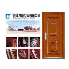 Porte blindée en acier en acier avec peau de porte en placage moulé