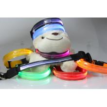 2016 venda quente luzes piscando transparentes ópticas levou coleira de cachorro de estimação