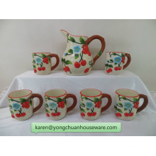 Color Hand-Painted Ceramic Pitcher with Mugs