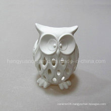 White Hollow out Owl Ornament, Small Night Light, Candle Holder, Ceramic,
