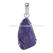 Lovely Charoite Gemstone 925 Sterling Silver Pendant Jewelry