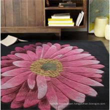 Big Flower Black Wool Carpet
