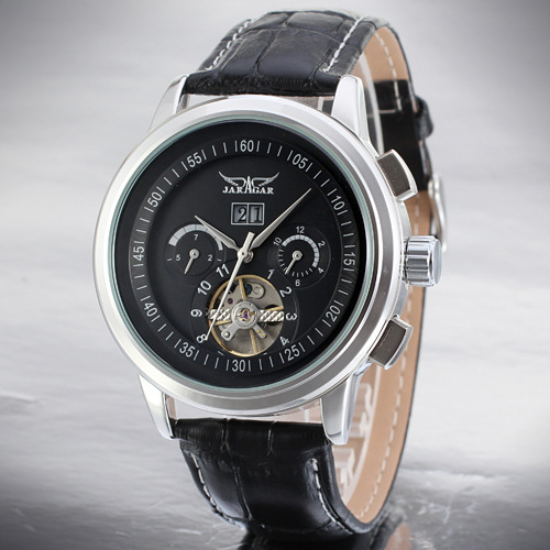 Tourbillon correa de cuero esqueleto Mens Sport Watches
