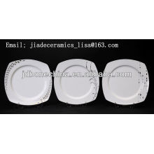 new design silver line square shape gorgeous Fine bone china square plates