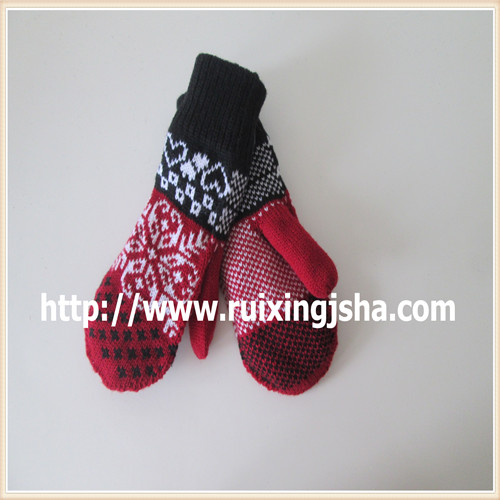 women knitted jacquard weave gloves