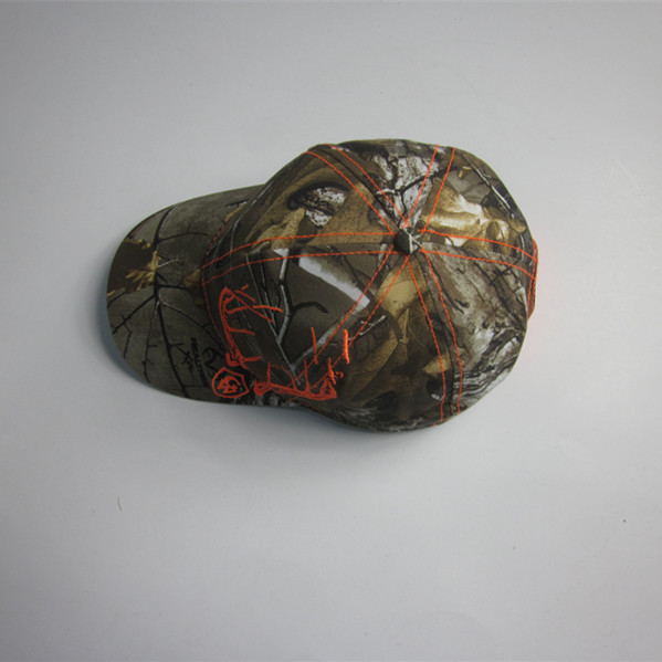 100% Polyester Camouflage Cap With Fluorescence Embroidery