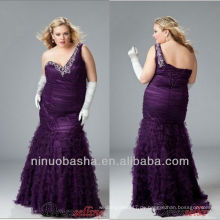 Plus Size One Schulter Lila Sweep Zug Abendkleid / iered Übergabe Perlen Ruched prom Kleid