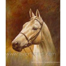 Peinture à l'huile à cheval à la main pour la salle de salon (EAN-027)