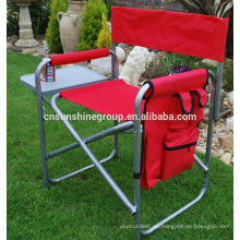 Durable lightweight outdoor aluminum chair with side table and pocket