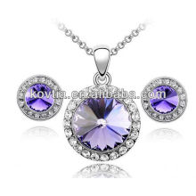 Purple crystal big diamonds necklace set