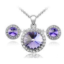 Conjunto de colar de diamantes roxo cristal grande conjunto